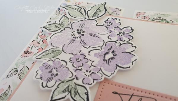 Hand-Penned Fancy Gate Fold Card Flowers